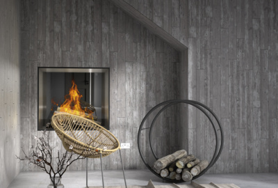 Earthen fireplace